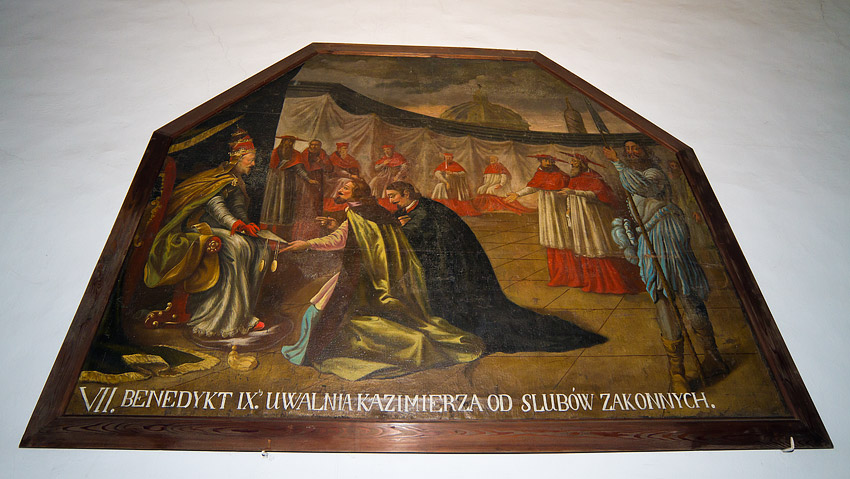 A painting on the corridor wall of the Benedictine monastery in Staniątki