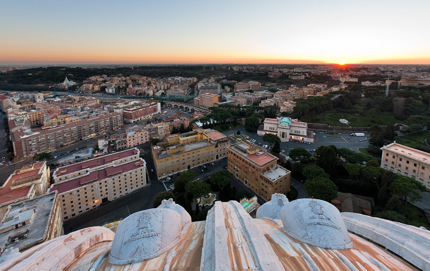 Sunset seen from the dome of St. Peter's Basilica