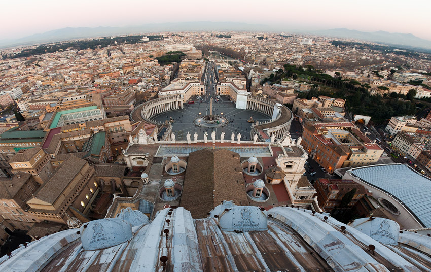 The view from the dome of St. Peter's Basilica