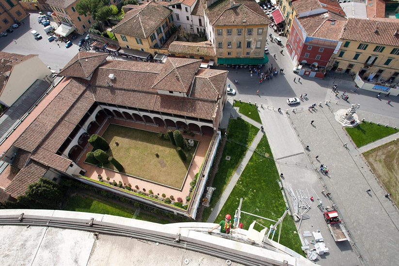 View from the overhanging side of the Leaning Tower of Pisa