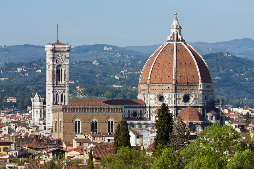 Florence cathedral seen from the Boboli Gardens: Giotto's Campanile on the left, Brunelleschi's dome on the right