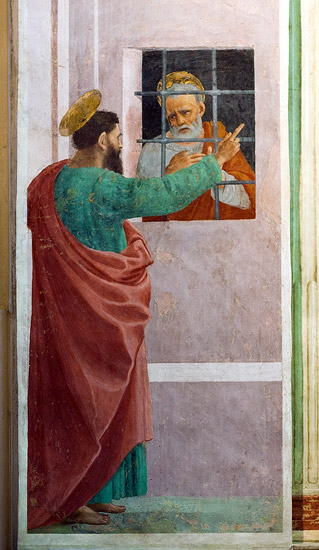 """Frescoes in the Brancacci Chapel: """"St. Paul Visiting St. Peter in Prison"""" by Filippino Lippi"""