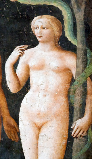 "Frescoes in the Brancacci Chapel: Eve from ""The Temptation of Adam and Eve"" by Masolino"