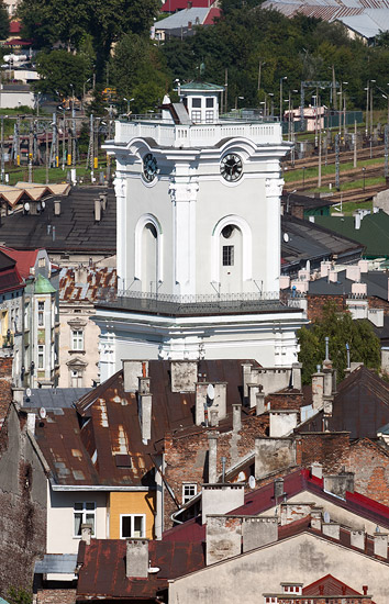 View from the castle tower in Przemyśl: the clock tower