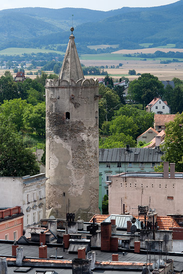 Paczków seen from the town hall tower: Kłodzko Gate Tower