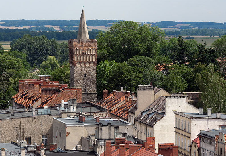 Paczków seen from the town hall tower: Wrocław Gate Tower