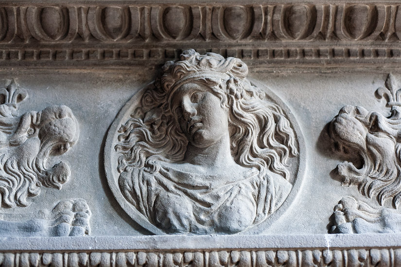Moszna Castle: detail from a fireplace