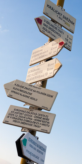 Trail signs on Śnieżnik