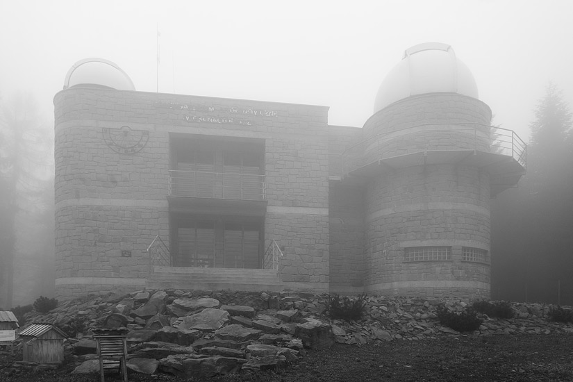 The astronomical observatory on Lubomir in the fog