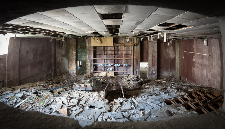 Pripyat: the cinema auditorium as seen from the projection booth
