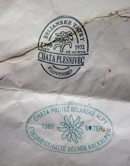 Stamps from the Chata Plesnivec mountain hut