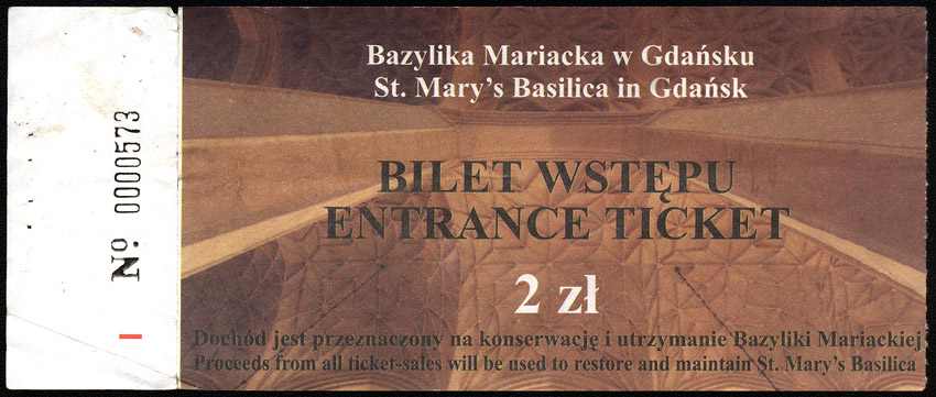 An entrance ticket to St. Mary's church in Gdańsk
