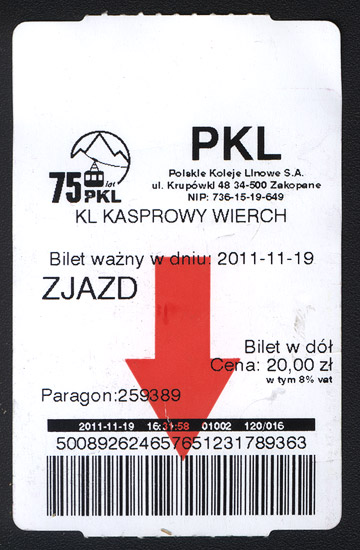 Cable car ticket, Kasprowy Wierch