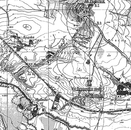 Fort Mydlniki on a military map (1904)