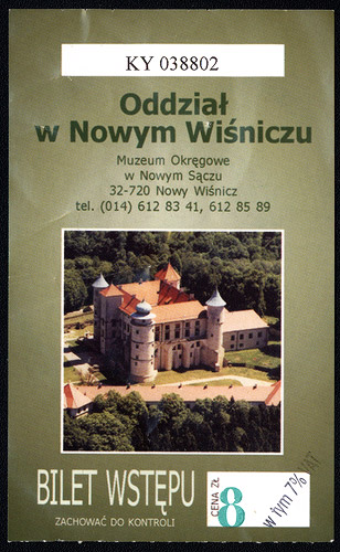 Entrance ticket to the castle in Nowy Wiśnicz