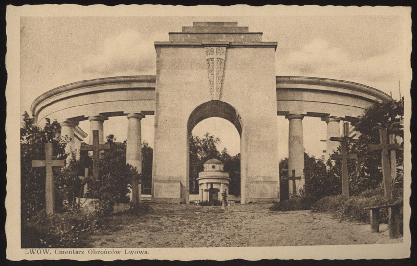 The Cemetery of the Defenders of Lwów on a postcard from 1935
