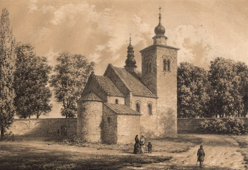 St. Nicholas' church in Wysocice: a 19th century lithograph (from the archives of Zielona Góra Digital Library)