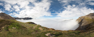 The Äbeflüe meadows (cca 2390 m) were probably the best place to watch the second rehearsal day of the Axalp Air Power Demonstration 2013 as the standard spectator locations were already below the cloud cover.  Click to view this panorama in new fullscreen window