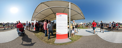 Radom Air Show 2011: the stand of AgustaWestland company.  Click to view this panorama in new fullscreen window