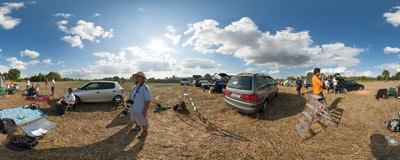 Radom Air Show 2013: the spotters' playground south of the airport.  Click to view this panorama in new fullscreen window
