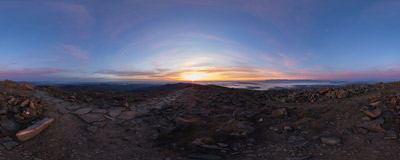 Watching the rising sun on the summit of Babia Góra (1725 m).  Click to view this panorama in new fullscreen window