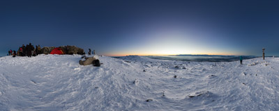 Waiting for the sunrise on the summit of Babia Góra (1725 m).  Click to view this panorama in new fullscreen window