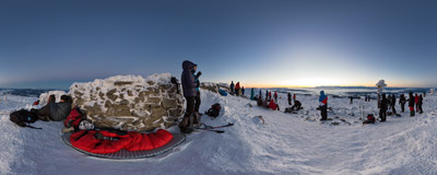 Waiting for the last sunrise of 2016 on the summit of Babia Góra (1725 m).  Click to view this panorama in new fullscreen window
