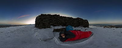 Waking up on the summit of Babia Góra (1725 m).  Click to view this panorama in new fullscreen window