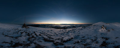 At dawn on the ridge of Babia Góra, hiking up to the summit to watch the sunrise.  Click to view this panorama in new fullscreen window