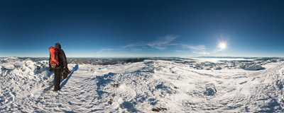 Thanks to this nice winter weather you can see mountains 120 miles away from the summit ridge of Babia Góra (1725 m).  Click to view this panorama in new fullscreen window