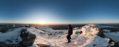 April (but still wintery) sunset on the summit of Babia Góra (1725 m).  Click to view this panorama in new fullscreen window
