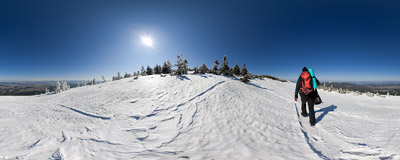 On the slopes of Babia Góra with Tatra Mountains on the horizon.  Click to view this panorama in new fullscreen window