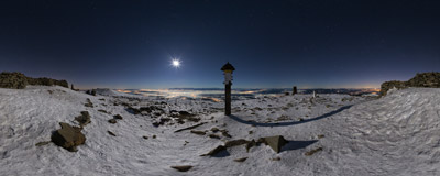 Bright moon shining on the summit of Babia Góra (1725 m).  Click to view this panorama in new fullscreen window