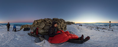 Just before sunrise on the summit of Babia Góra (1725 m).  Click to view this panorama in new fullscreen window