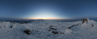 Five minutes to sunrise on the summit of Babia Góra (1725 m).  Click to view this panorama in new fullscreen window