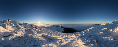 On the summit of Babia Góra (1725 m), a few hundred metres above a sea of clouds.  Click to view this panorama in new fullscreen window