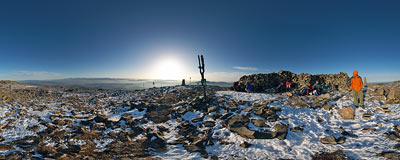 On the summit of Babia Góra (1725 m).  Click to view this panorama in new fullscreen window