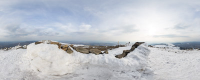 Spring is slowly arriving at the summit of Babia Góra (1725 m).  Click to view this panorama in new fullscreen window
