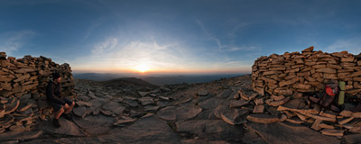 Watching another sunset from the summit of Babia Góra (1725 m).  Click to view this panorama in new fullscreen window