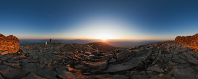 Sunset time on the summit of Babia Góra (1725 m) in Beskidy Mountains.  Click to view this panorama in new fullscreen window