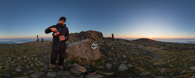 Pouring a freshly brewed coffee on the summit of Babia Góra (1725 m).  Click to view this panorama in new fullscreen window