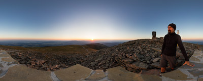A September sunset on the summit of Babia Góra (1725 m).  Click to view this panorama in new fullscreen window