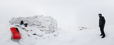 A foggy morning after a night spent in the snows of the summit of Babia Góra (1725 m).  Click to view this panorama in new fullscreen window