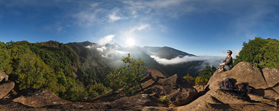The famous viewpoint of Balcões high above the valley of Ribeira da Metade in Madeira.  Click to view this panorama in new fullscreen window