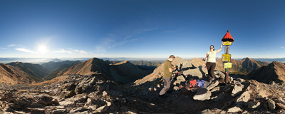 On the summit of Baníkov (2178 m) in Slovak Tatra mountains.  Click to view this panorama in new fullscreen window