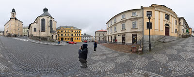 Banská Štiavnica - Radničné námestie (Town Hall Square).  Click to view this panorama in new fullscreen window