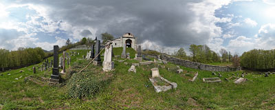 Banská Štiavnica - Jewish cemetery.  Click to view this panorama in new fullscreen window