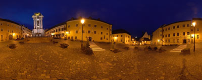 Banská Štiavnica - Holy Trinity Square by night.  Click to view this panorama in new fullscreen window