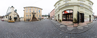 Banská Štiavnica - the upper end of Radničné námestie (Town Hall Square).  Click to view this panorama in new fullscreen window