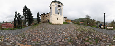 Banská Štiavnica - by the Old Castle.  Click to view this panorama in new fullscreen window